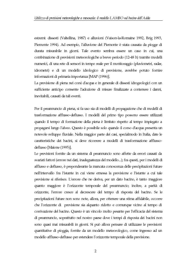 Anteprima della tesi: Utilizzo di previsioni meteorologiche a mesoscala: il modello Lambo sul bacino dell'Adda, Pagina 2