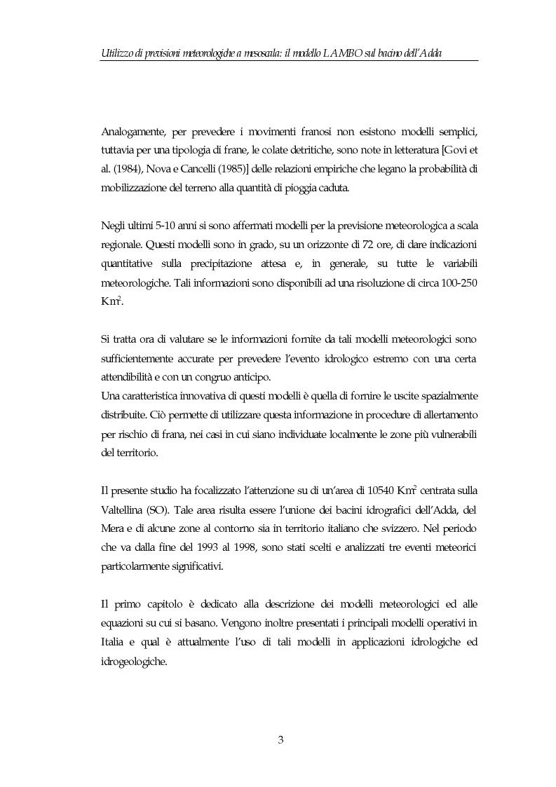 Anteprima della tesi: Utilizzo di previsioni meteorologiche a mesoscala: il modello Lambo sul bacino dell'Adda, Pagina 3