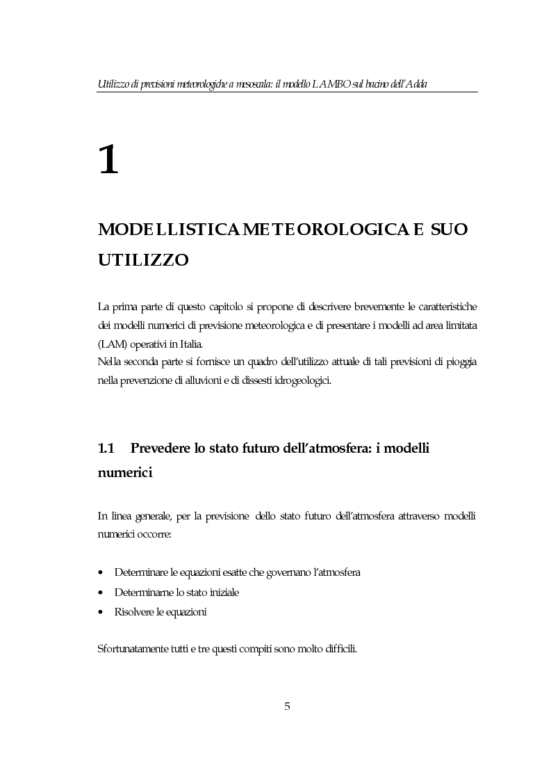 Anteprima della tesi: Utilizzo di previsioni meteorologiche a mesoscala: il modello Lambo sul bacino dell'Adda, Pagina 5