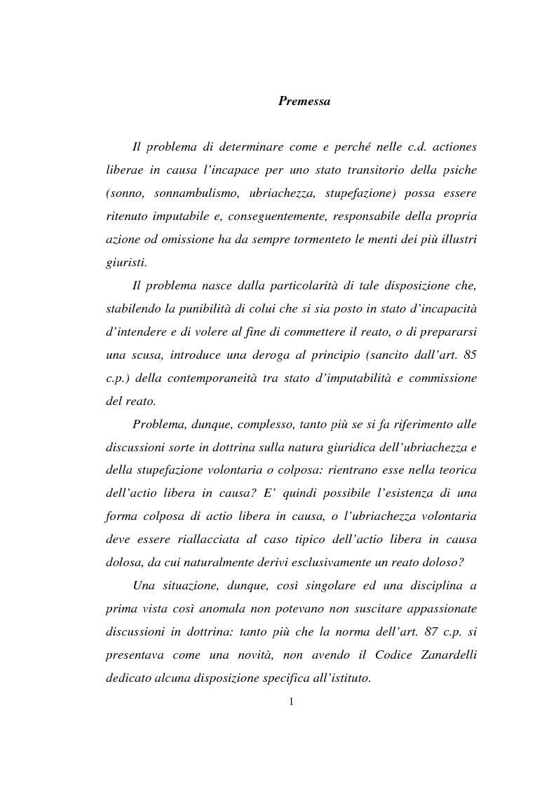 Anteprima della tesi: Actiones liberae in causa, Pagina 1