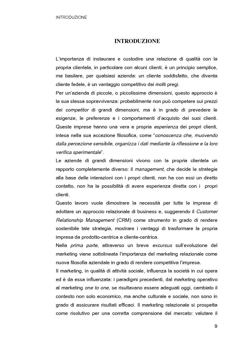 Anteprima della tesi: Customer Relationship Management. Caratteristiche e implementazione di una strategia cliente-centrica, Pagina 1
