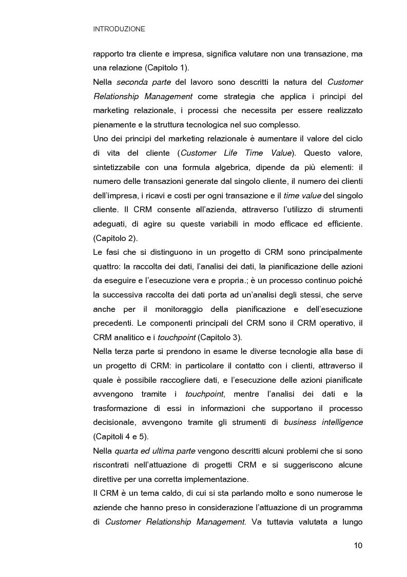 Anteprima della tesi: Customer Relationship Management. Caratteristiche e implementazione di una strategia cliente-centrica, Pagina 2