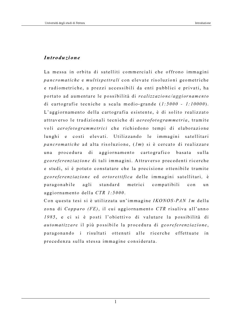 Anteprima della tesi: Georeferenziazione automatica di immagini satellitari ad alta risoluzione, Pagina 1