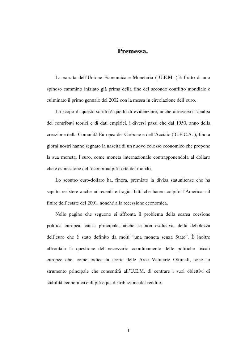 Anteprima della tesi: L'Unione economica e monetaria: dalla teoria delle aree valutarie ottimali alle politiche economiche europee, Pagina 1