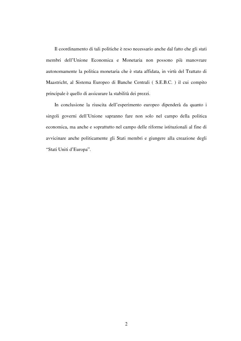 Anteprima della tesi: L'Unione economica e monetaria: dalla teoria delle aree valutarie ottimali alle politiche economiche europee, Pagina 2