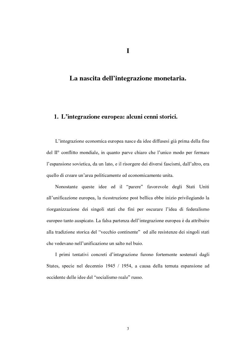 Anteprima della tesi: L'Unione economica e monetaria: dalla teoria delle aree valutarie ottimali alle politiche economiche europee, Pagina 3