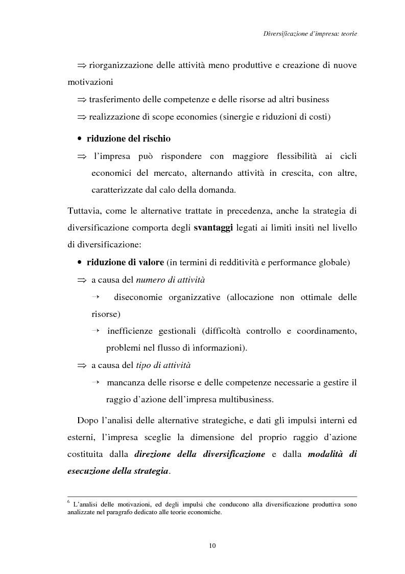 Anteprima della tesi: Diversificazione e coerenza d'impresa: un'applicazione alle imprese leader nell'industria manifatturiera italiana (1993-1996), Pagina 10