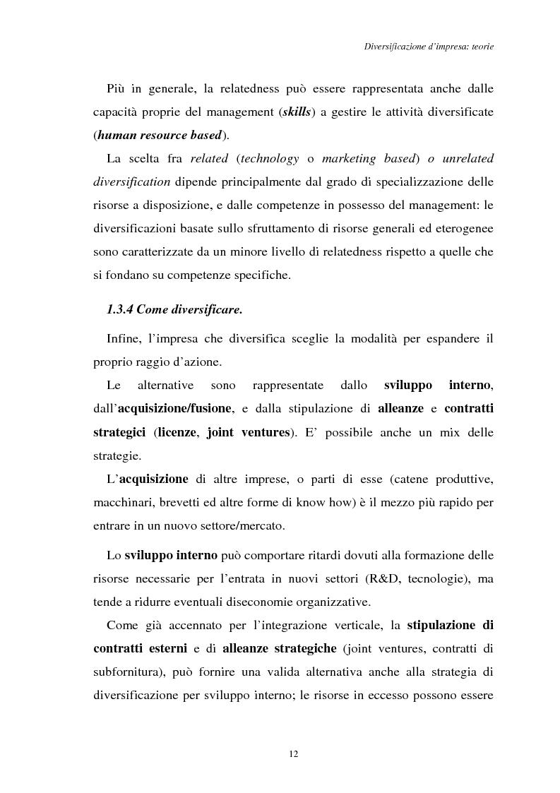 Anteprima della tesi: Diversificazione e coerenza d'impresa: un'applicazione alle imprese leader nell'industria manifatturiera italiana (1993-1996), Pagina 12