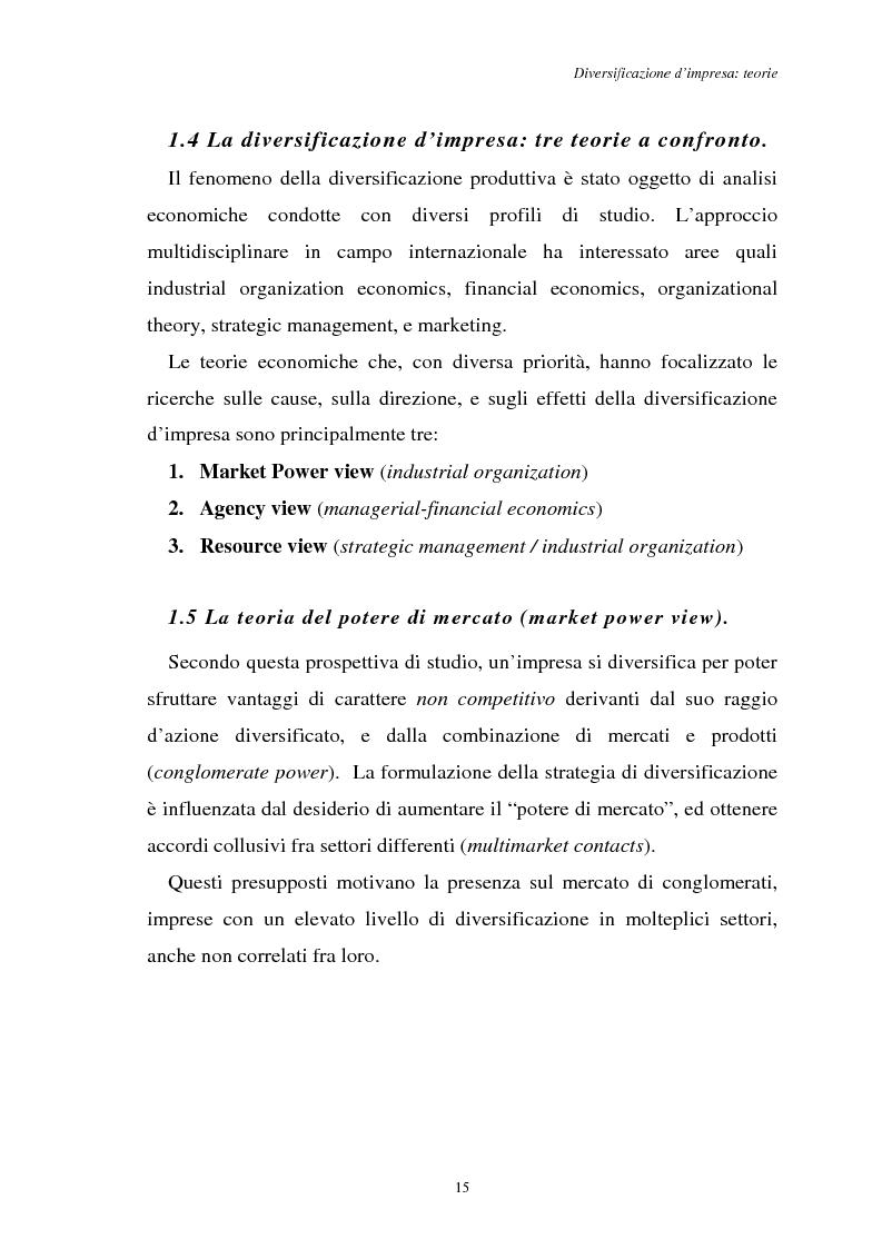 Anteprima della tesi: Diversificazione e coerenza d'impresa: un'applicazione alle imprese leader nell'industria manifatturiera italiana (1993-1996), Pagina 15
