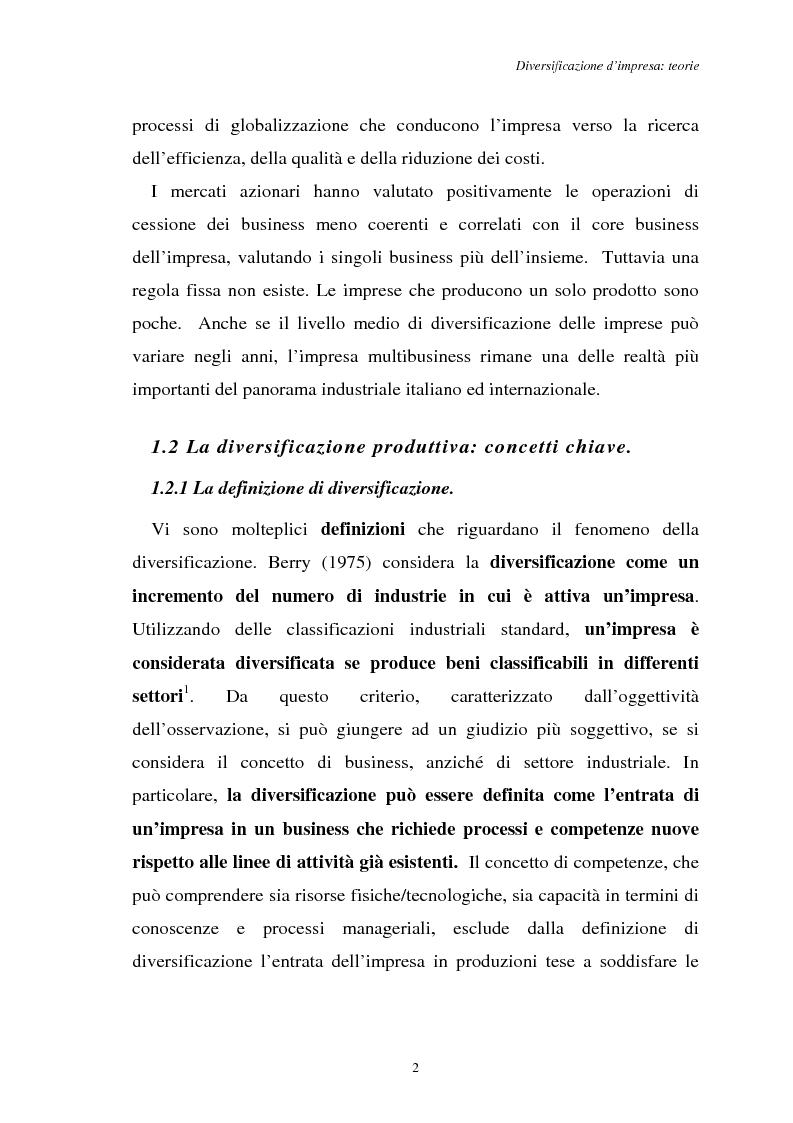 Anteprima della tesi: Diversificazione e coerenza d'impresa: un'applicazione alle imprese leader nell'industria manifatturiera italiana (1993-1996), Pagina 2