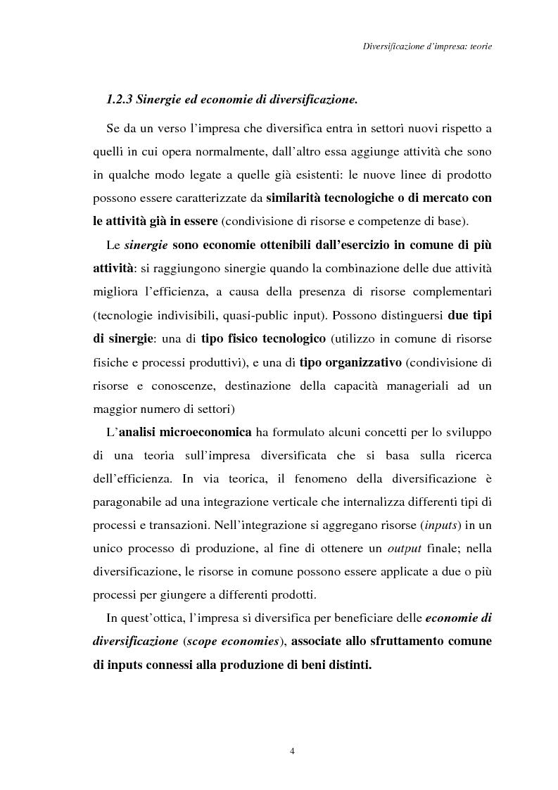 Anteprima della tesi: Diversificazione e coerenza d'impresa: un'applicazione alle imprese leader nell'industria manifatturiera italiana (1993-1996), Pagina 4