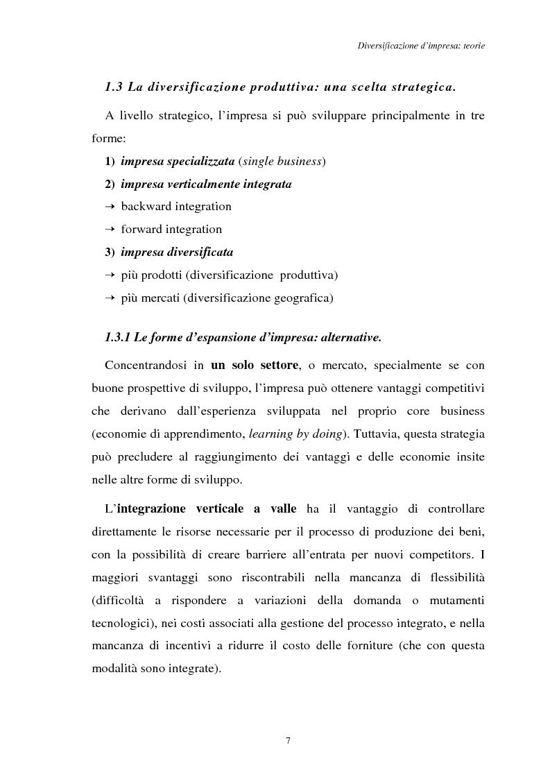Anteprima della tesi: Diversificazione e coerenza d'impresa: un'applicazione alle imprese leader nell'industria manifatturiera italiana (1993-1996), Pagina 7