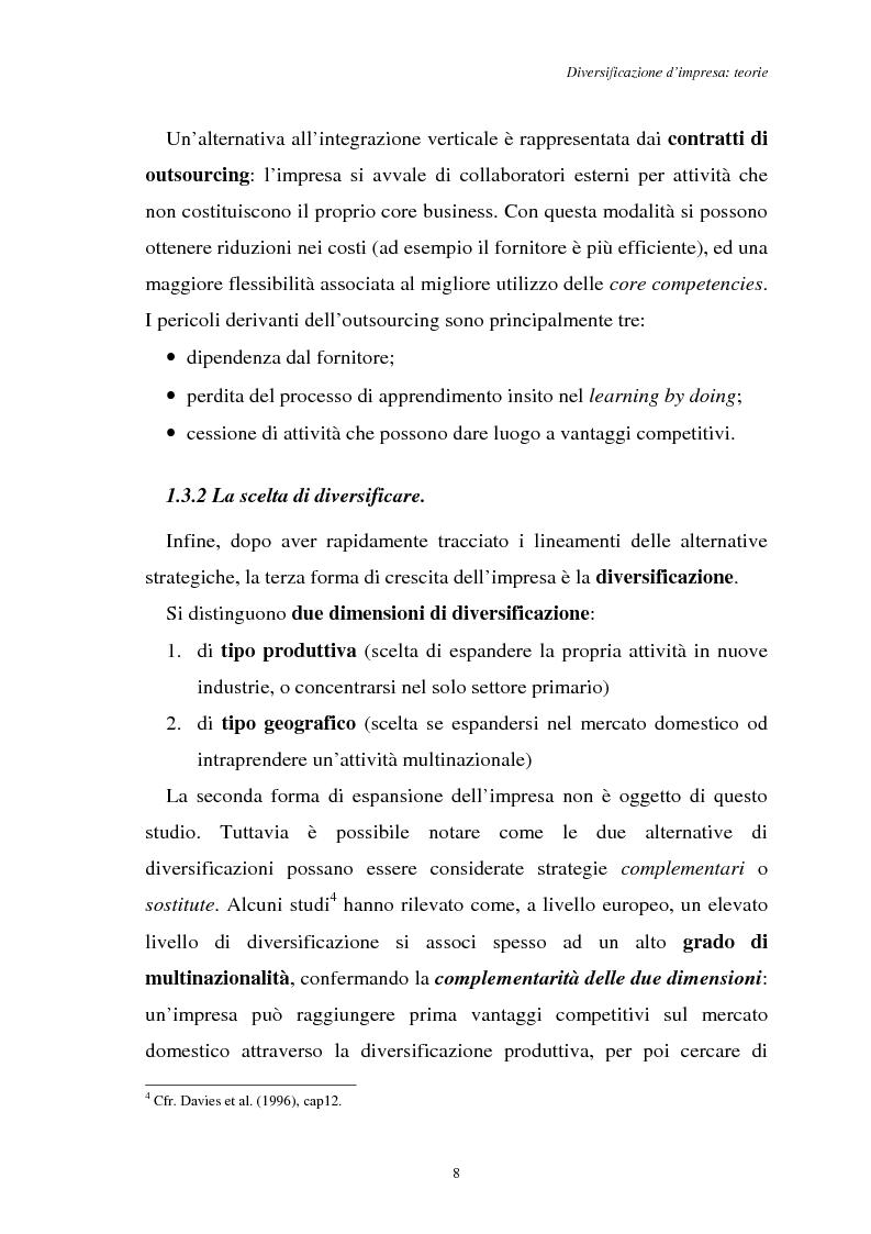 Anteprima della tesi: Diversificazione e coerenza d'impresa: un'applicazione alle imprese leader nell'industria manifatturiera italiana (1993-1996), Pagina 8