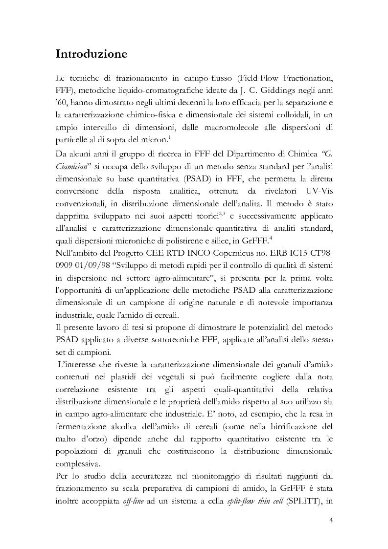 Anteprima della tesi: Analisi di distribuzione dimensionale e di massa di amido di cereali in frazionamento in campo-flusso (FFF) e suo interesse in campo agro-alimentare, Pagina 1