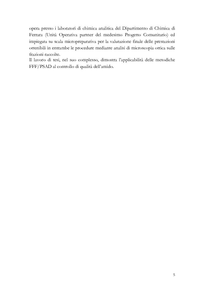Anteprima della tesi: Analisi di distribuzione dimensionale e di massa di amido di cereali in frazionamento in campo-flusso (FFF) e suo interesse in campo agro-alimentare, Pagina 2