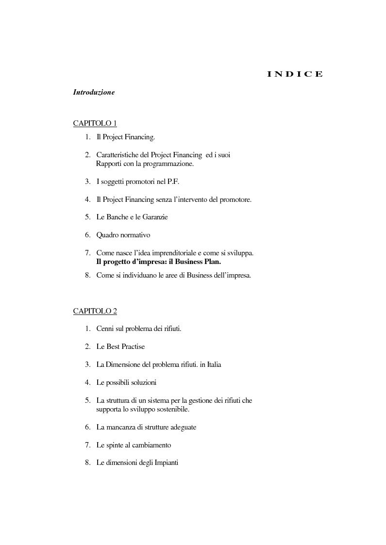 Indice della tesi: La tecnica del project financing: quadro normativo ed applicazioni – La realizzazione di un impianto Cdr, Pagina 1