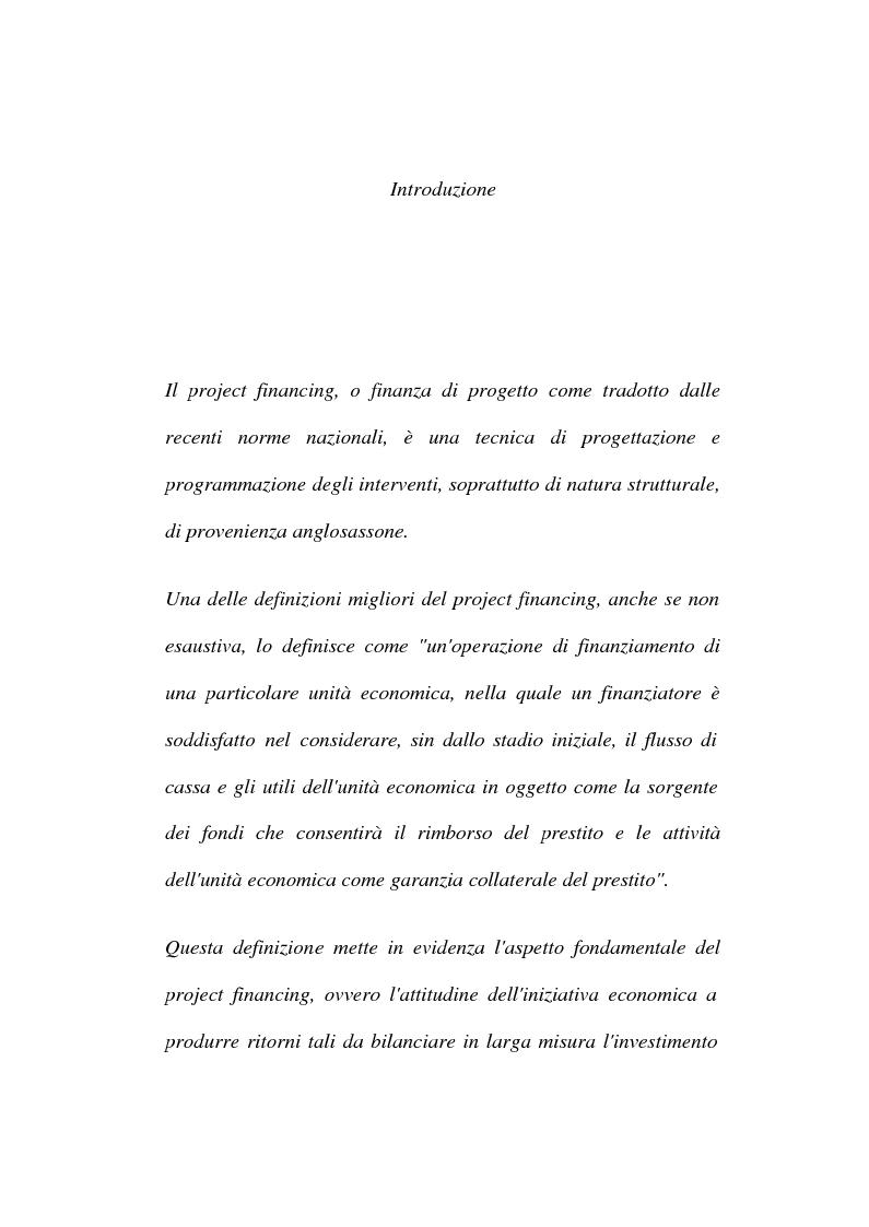 Anteprima della tesi: La tecnica del project financing: quadro normativo ed applicazioni – La realizzazione di un impianto Cdr, Pagina 1
