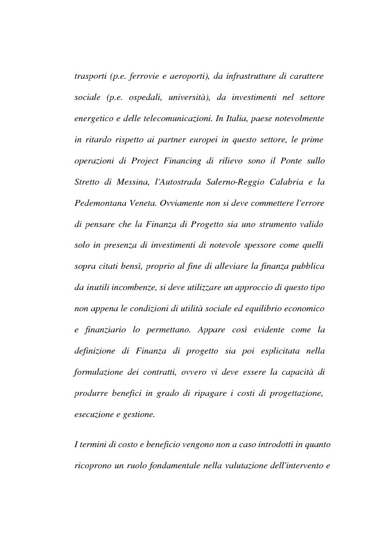 Anteprima della tesi: La tecnica del project financing: quadro normativo ed applicazioni – La realizzazione di un impianto Cdr, Pagina 4