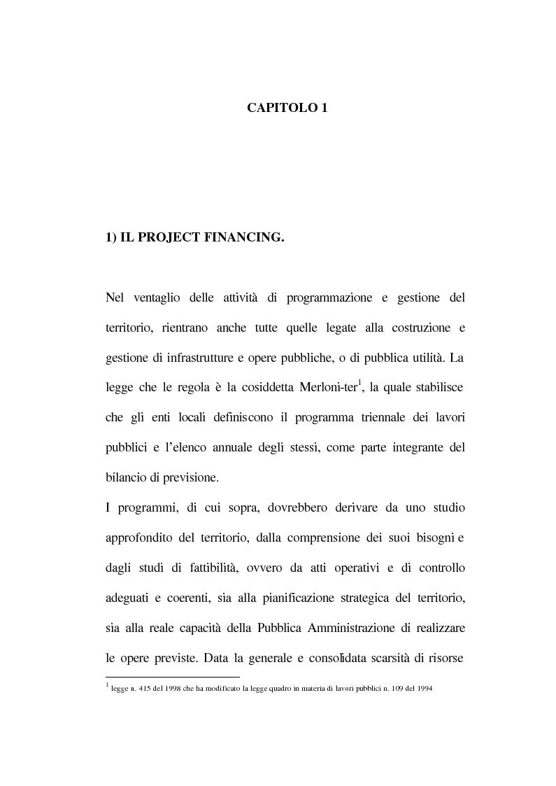 Anteprima della tesi: La tecnica del project financing: quadro normativo ed applicazioni – La realizzazione di un impianto Cdr, Pagina 6