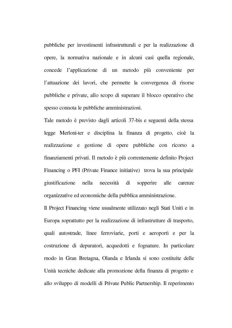 Anteprima della tesi: La tecnica del project financing: quadro normativo ed applicazioni – La realizzazione di un impianto Cdr, Pagina 7
