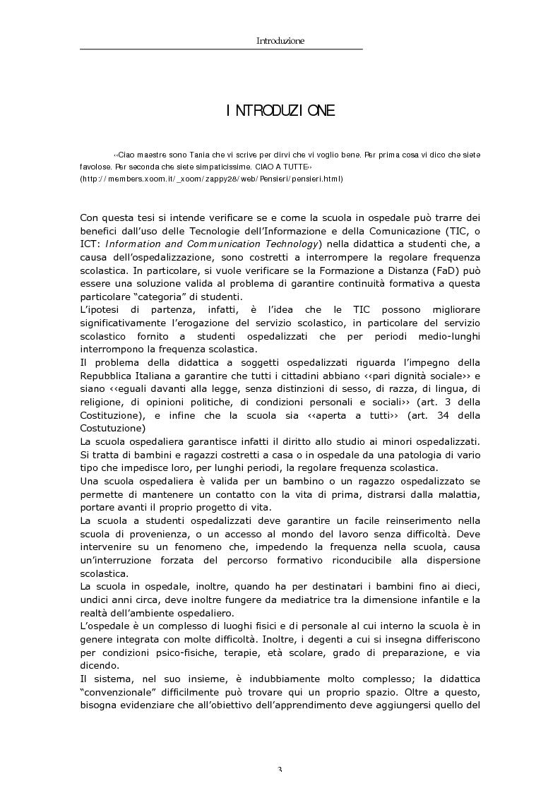 Anteprima della tesi: TIC e FaD per studenti ospedalizzati, Pagina 1