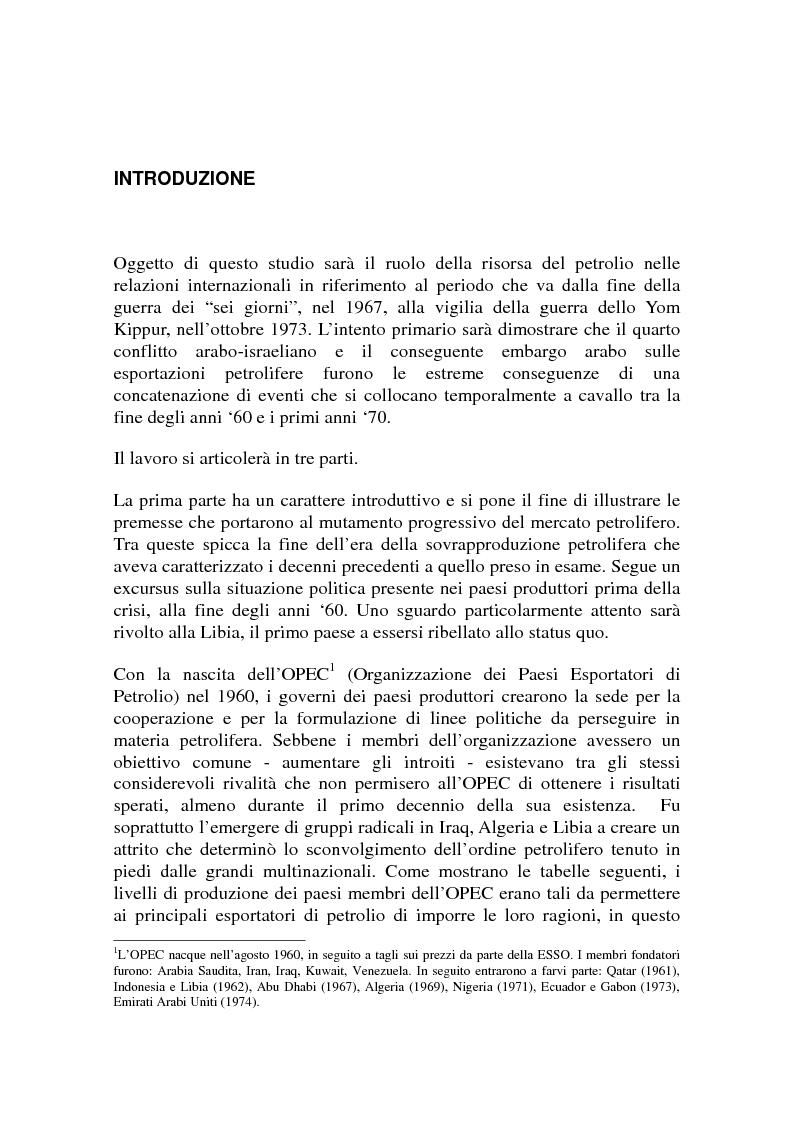 Anteprima della tesi: Le origini del primo shock petrolifero, Pagina 1