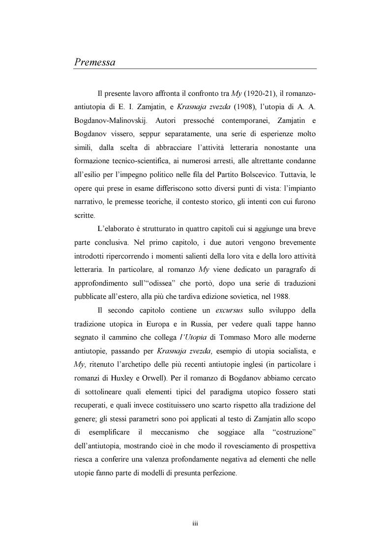 Anteprima della tesi: Utopia e antiutopia socialista (''My''di E.I. Zamjatin e ''Krasnaja zvezda''di A.A. Bogdanov), Pagina 1