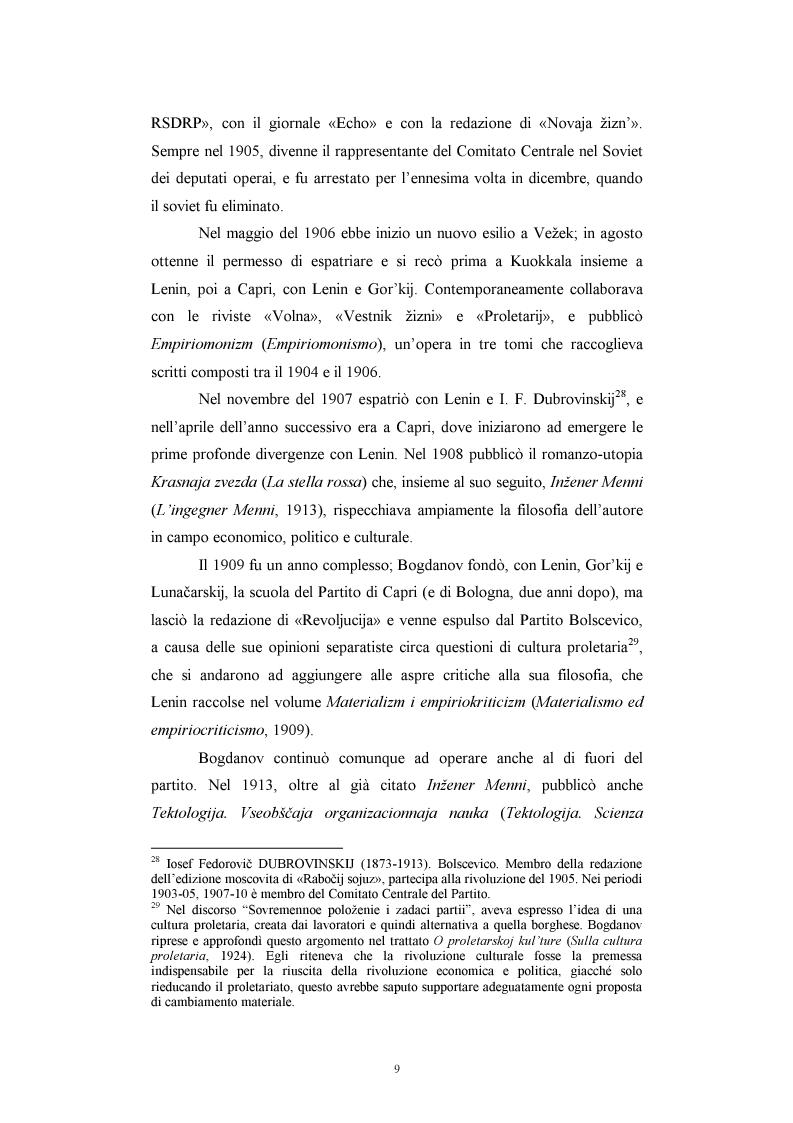 Anteprima della tesi: Utopia e antiutopia socialista (''My''di E.I. Zamjatin e ''Krasnaja zvezda''di A.A. Bogdanov), Pagina 15