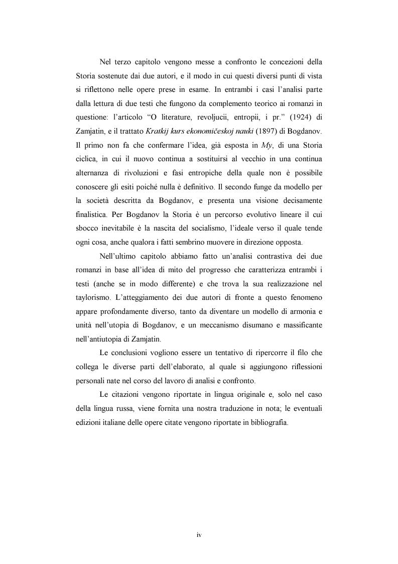 Anteprima della tesi: Utopia e antiutopia socialista (''My''di E.I. Zamjatin e ''Krasnaja zvezda''di A.A. Bogdanov), Pagina 2