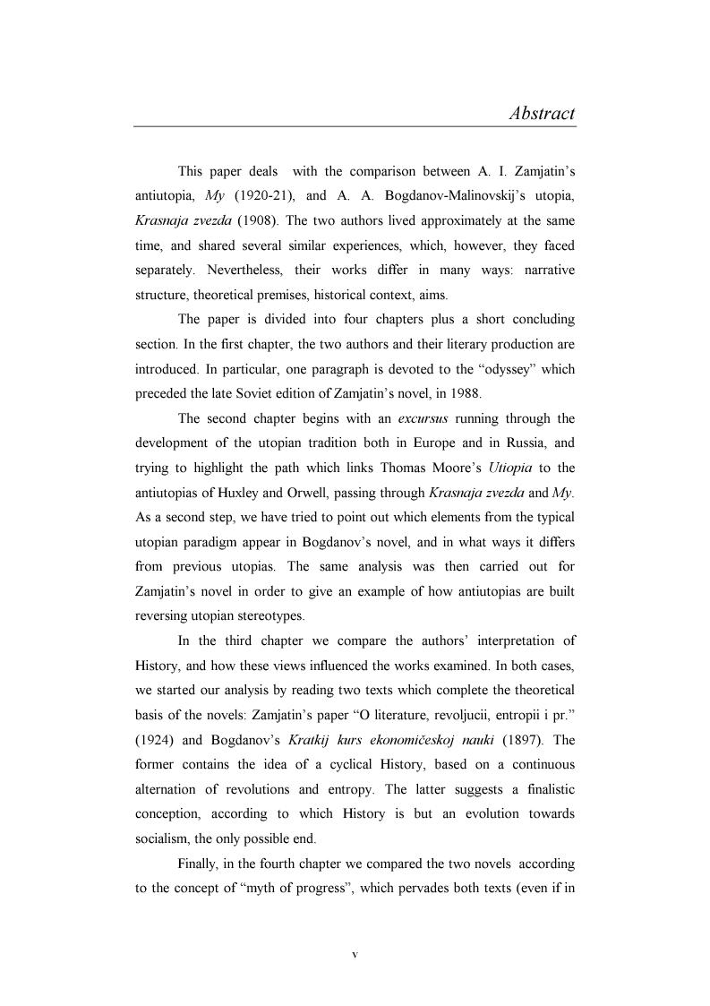 Anteprima della tesi: Utopia e antiutopia socialista (''My''di E.I. Zamjatin e ''Krasnaja zvezda''di A.A. Bogdanov), Pagina 3