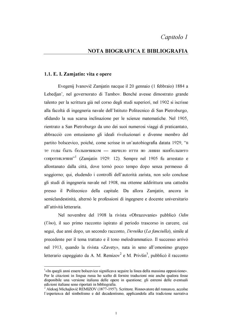 Anteprima della tesi: Utopia e antiutopia socialista (''My''di E.I. Zamjatin e ''Krasnaja zvezda''di A.A. Bogdanov), Pagina 7