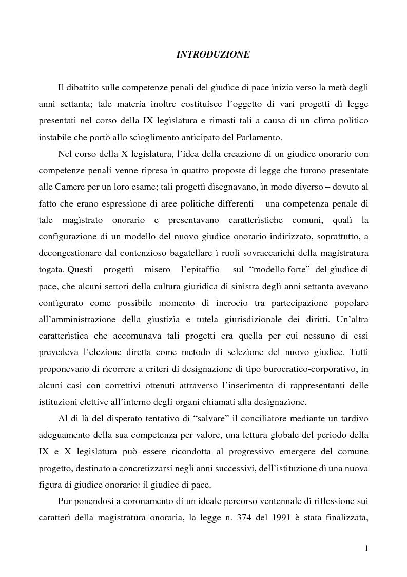 Anteprima della tesi: L'azione privata nel procedimento penale davanti al giudice di pace, Pagina 1