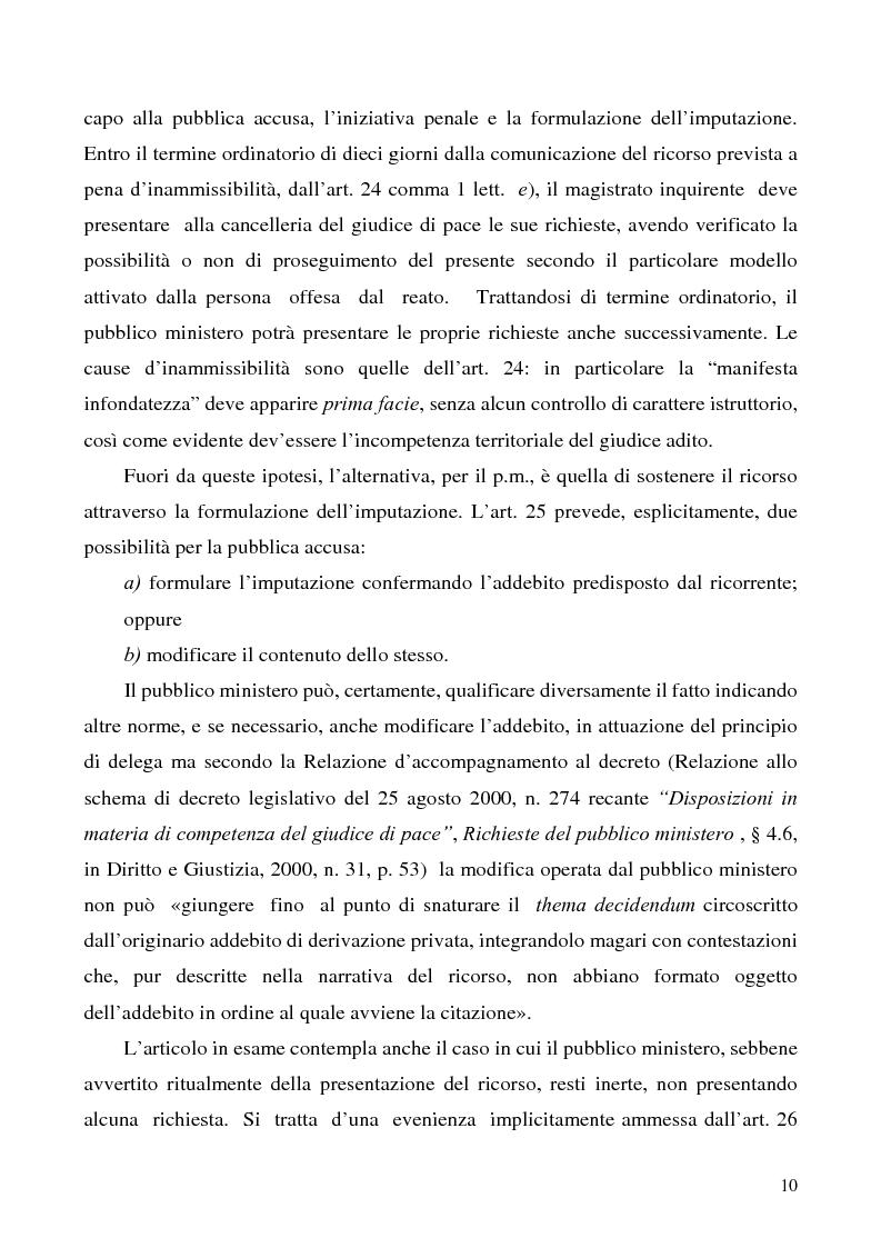 Anteprima della tesi: L'azione privata nel procedimento penale davanti al giudice di pace, Pagina 10
