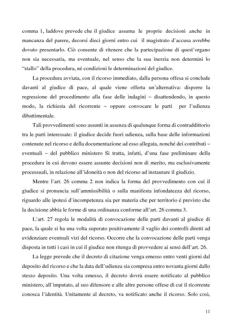 Anteprima della tesi: L'azione privata nel procedimento penale davanti al giudice di pace, Pagina 11