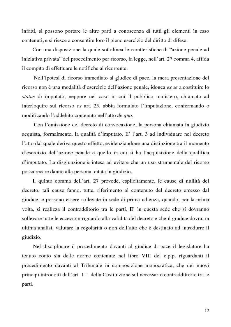 Anteprima della tesi: L'azione privata nel procedimento penale davanti al giudice di pace, Pagina 12