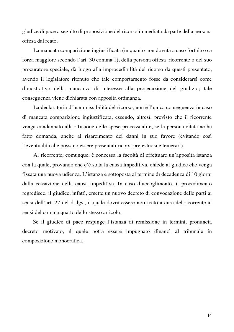 Anteprima della tesi: L'azione privata nel procedimento penale davanti al giudice di pace, Pagina 14