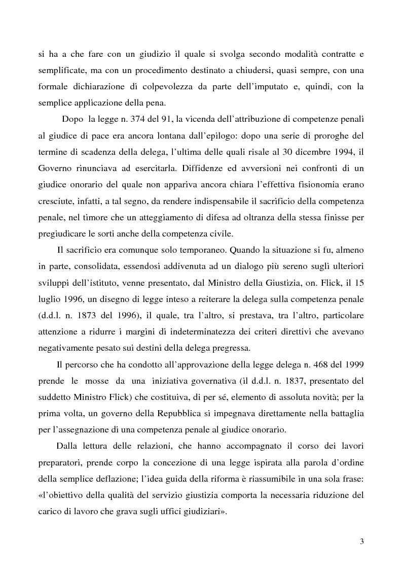 Anteprima della tesi: L'azione privata nel procedimento penale davanti al giudice di pace, Pagina 3
