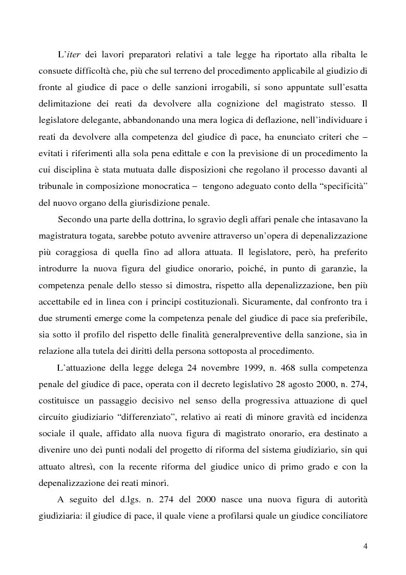 Anteprima della tesi: L'azione privata nel procedimento penale davanti al giudice di pace, Pagina 4