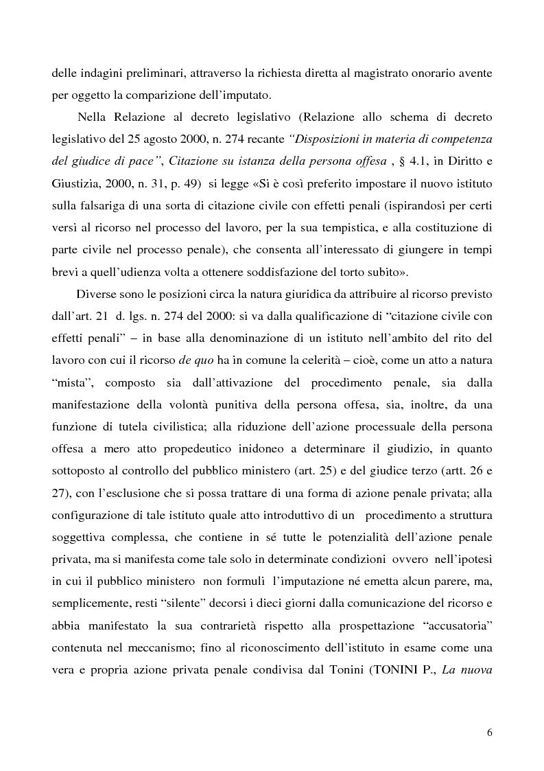 Anteprima della tesi: L'azione privata nel procedimento penale davanti al giudice di pace, Pagina 6