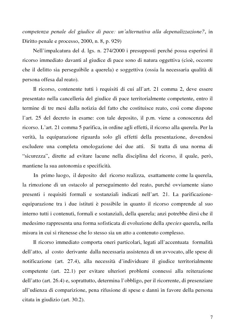 Anteprima della tesi: L'azione privata nel procedimento penale davanti al giudice di pace, Pagina 7