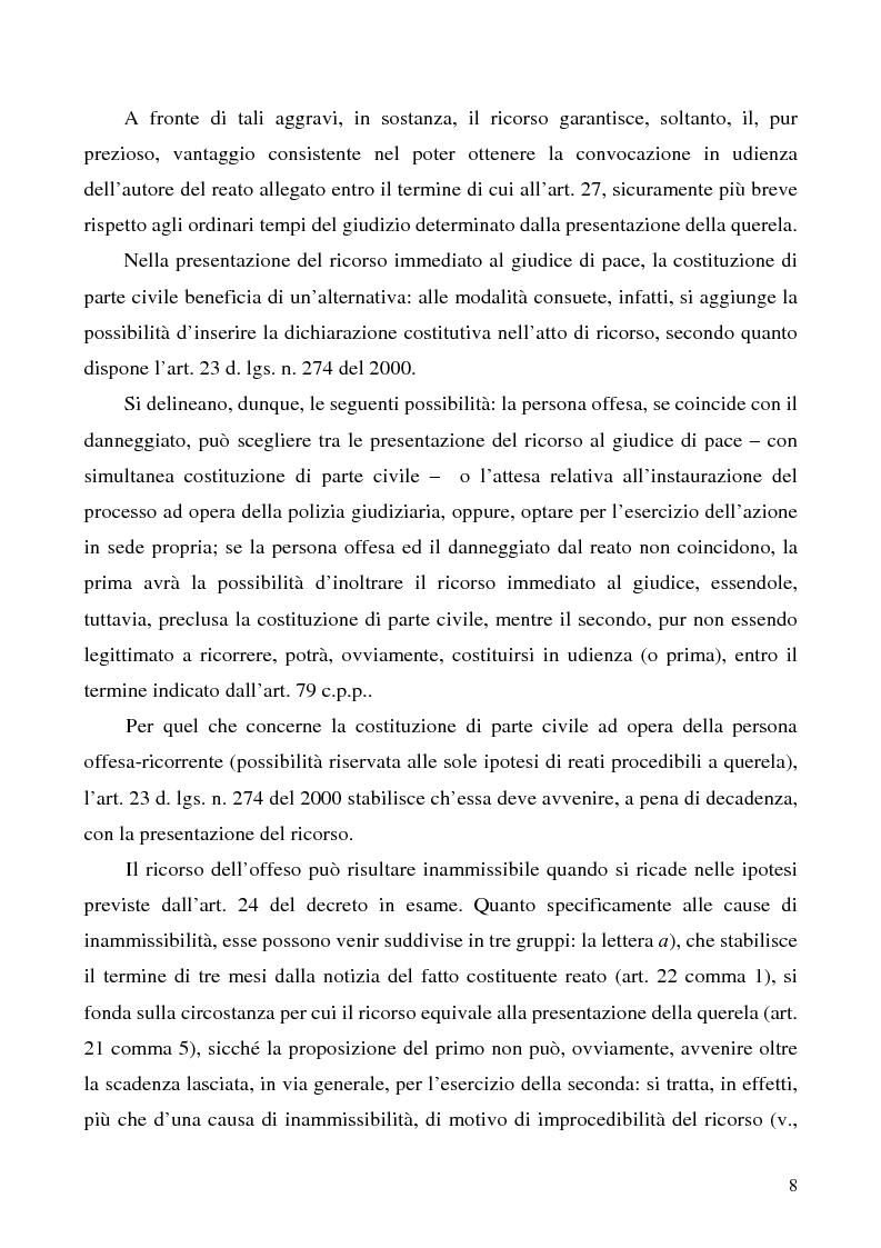 Anteprima della tesi: L'azione privata nel procedimento penale davanti al giudice di pace, Pagina 8