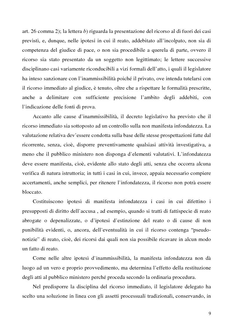 Anteprima della tesi: L'azione privata nel procedimento penale davanti al giudice di pace, Pagina 9