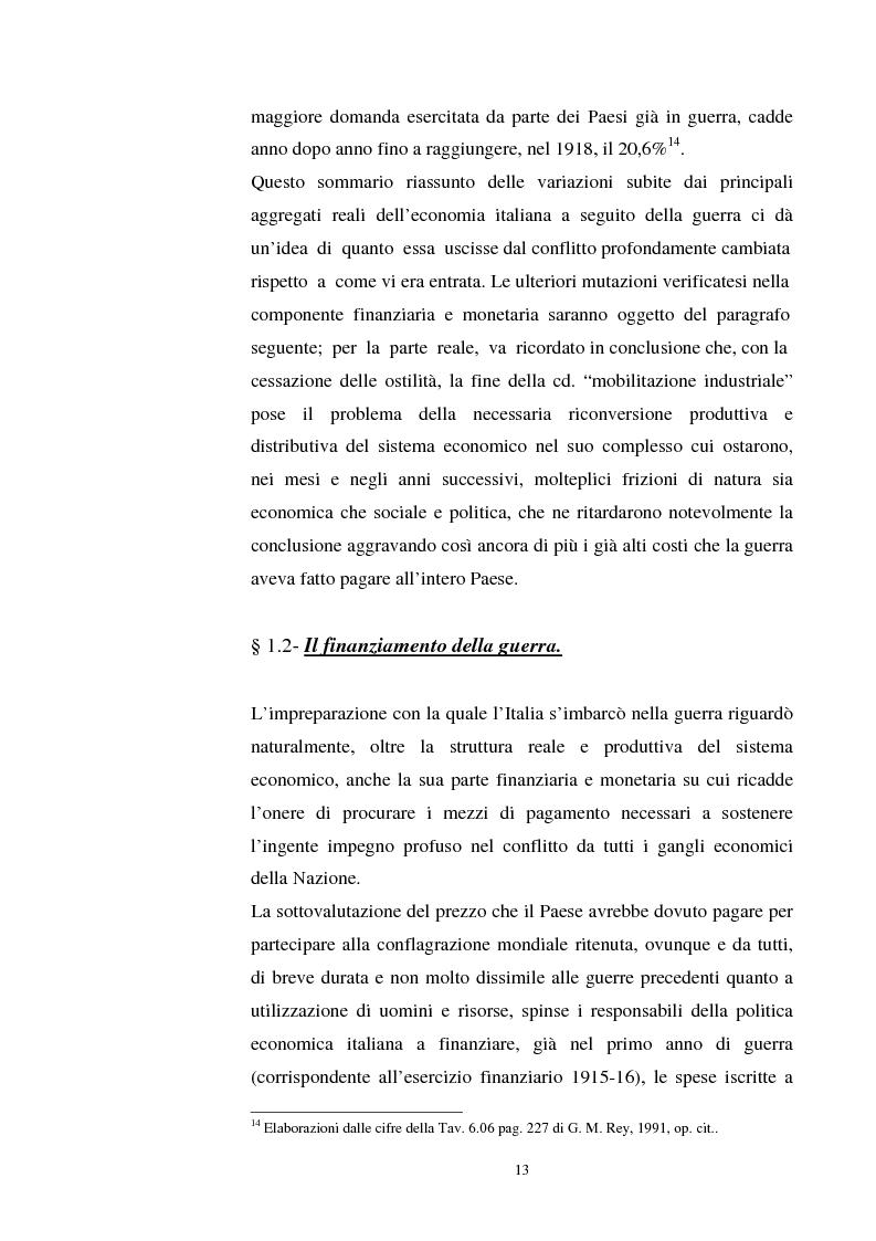 Anteprima della tesi: L'evoluzione del debito pubblico italiano dalla fine della prima guerra mondiale al consolidamento del 1926 ed i suoi effetti macroeconomici e redistributivi, Pagina 13