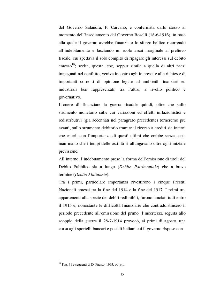 Anteprima della tesi: L'evoluzione del debito pubblico italiano dalla fine della prima guerra mondiale al consolidamento del 1926 ed i suoi effetti macroeconomici e redistributivi, Pagina 15