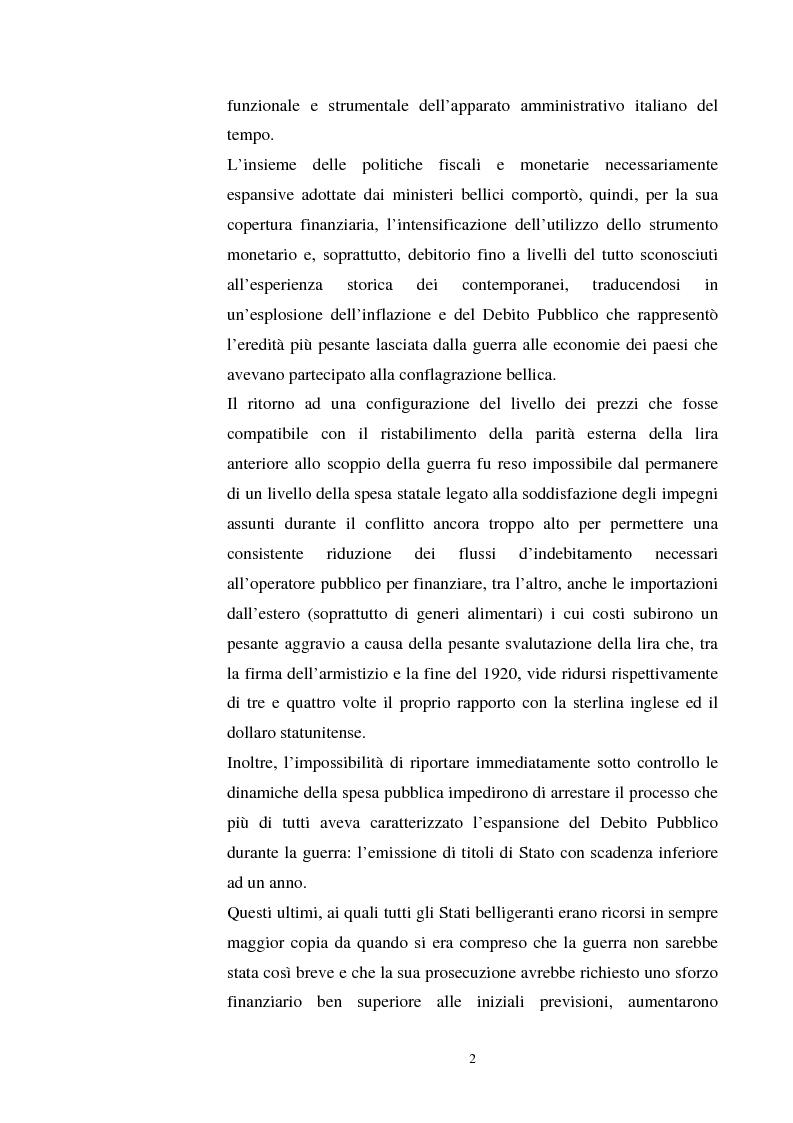 Anteprima della tesi: L'evoluzione del debito pubblico italiano dalla fine della prima guerra mondiale al consolidamento del 1926 ed i suoi effetti macroeconomici e redistributivi, Pagina 2