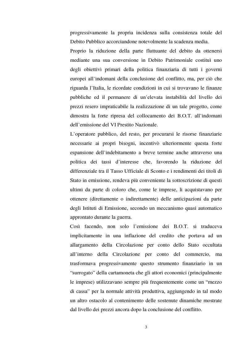 Anteprima della tesi: L'evoluzione del debito pubblico italiano dalla fine della prima guerra mondiale al consolidamento del 1926 ed i suoi effetti macroeconomici e redistributivi, Pagina 3