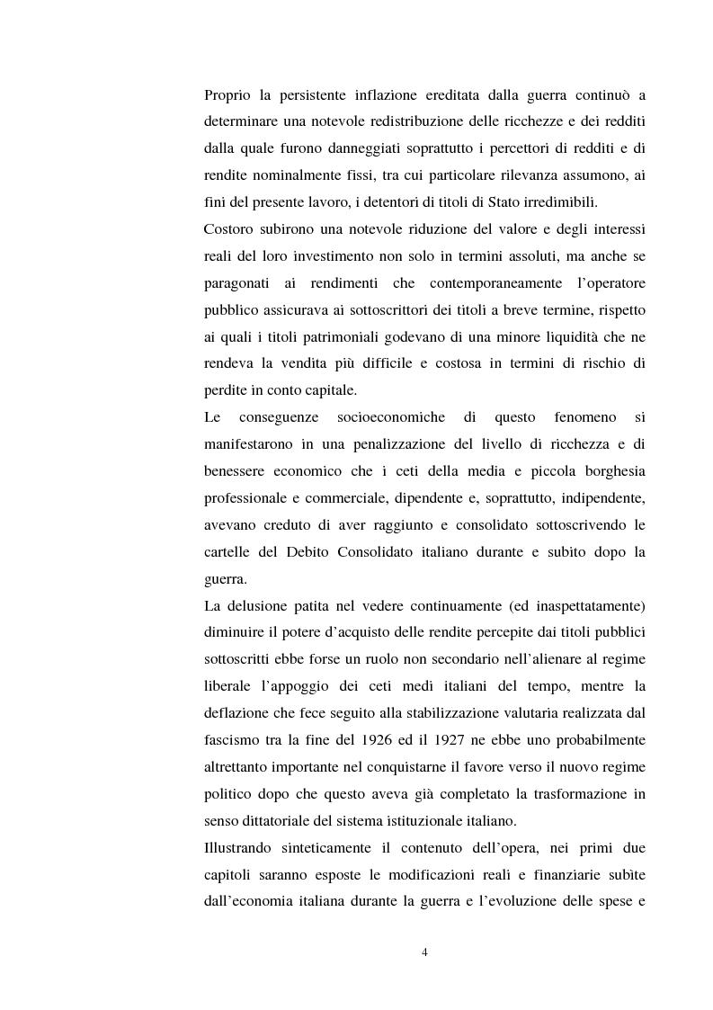 Anteprima della tesi: L'evoluzione del debito pubblico italiano dalla fine della prima guerra mondiale al consolidamento del 1926 ed i suoi effetti macroeconomici e redistributivi, Pagina 4
