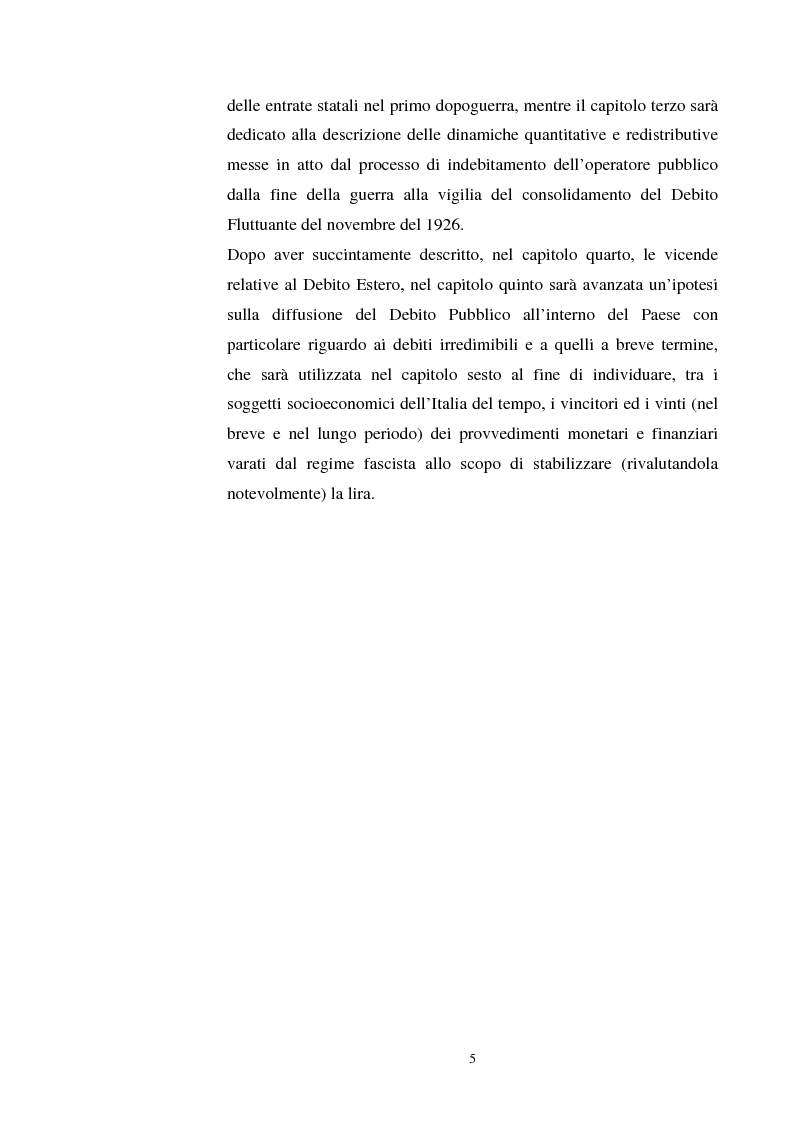 Anteprima della tesi: L'evoluzione del debito pubblico italiano dalla fine della prima guerra mondiale al consolidamento del 1926 ed i suoi effetti macroeconomici e redistributivi, Pagina 5
