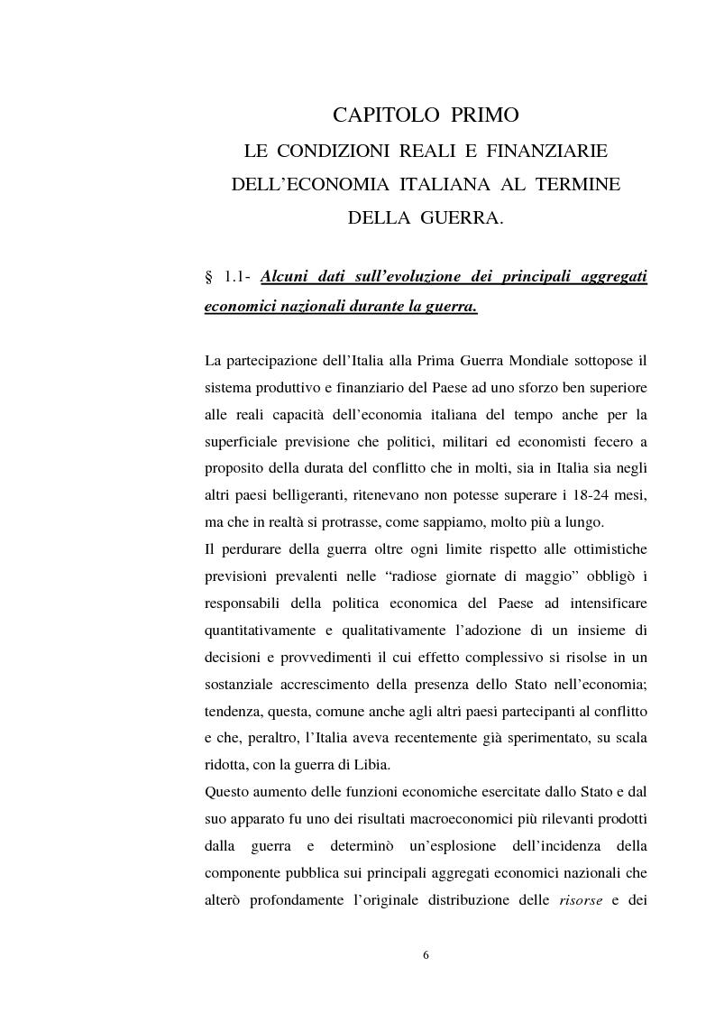 Anteprima della tesi: L'evoluzione del debito pubblico italiano dalla fine della prima guerra mondiale al consolidamento del 1926 ed i suoi effetti macroeconomici e redistributivi, Pagina 6