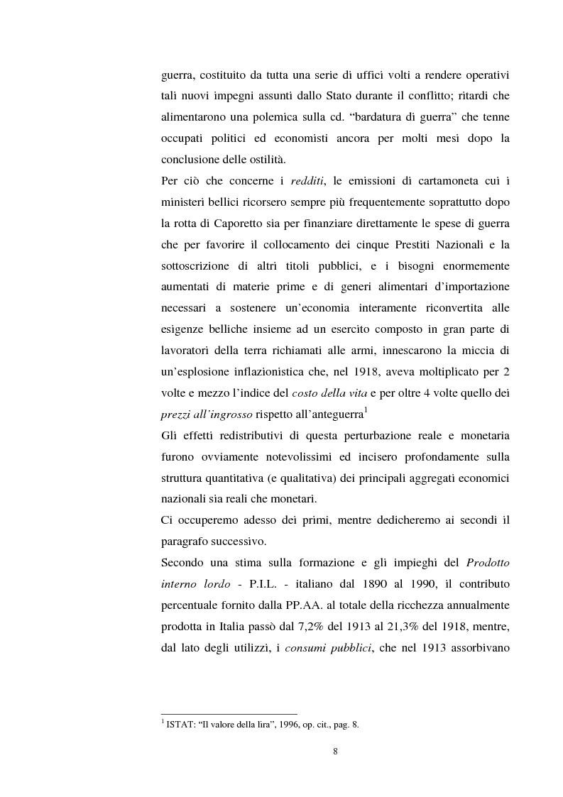 Anteprima della tesi: L'evoluzione del debito pubblico italiano dalla fine della prima guerra mondiale al consolidamento del 1926 ed i suoi effetti macroeconomici e redistributivi, Pagina 8